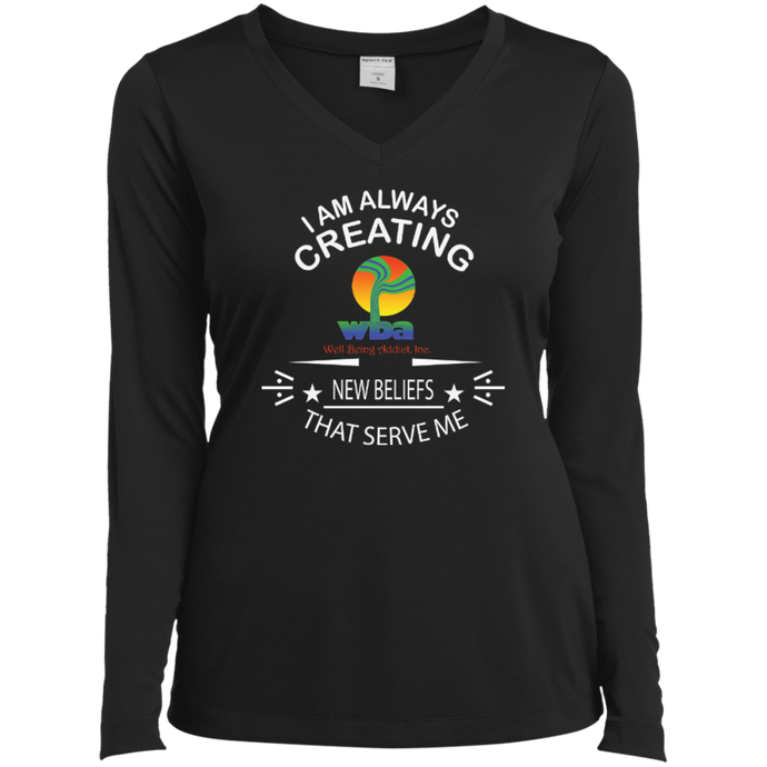 Customized Ladies Long Sleeve Performance V-neck