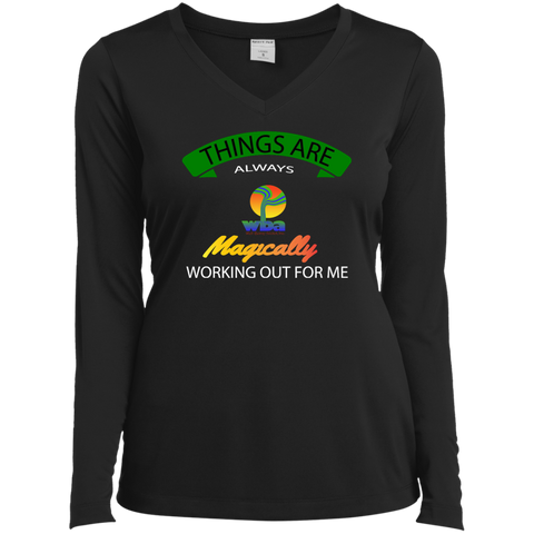 2.aiBANNER REVISED.aiWHITE  Ladies Long Sleeve Performance Vneck Tee - Well Being Addict.Com