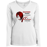 Ladies Long Sleeve Vneck Tee-Cosmetologist/Beauty Care Positive Affirmation - Well Being Addict.Com