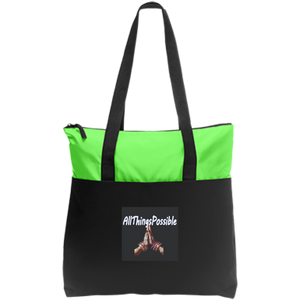 "Zip Top Tote AFFIRMATION ""ALLTHINGSPOSSIBLE"" - Well Being Addict.Com"