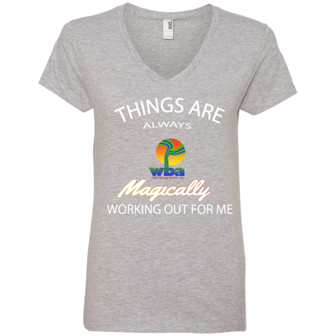 Ladies' V-Neck Tee - Well Being Addict.Com