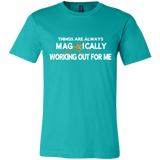 "Canvas Unisex Jersey Short-Sleeve T-Shirt  POSITIVE AFFIRMATION ""THINGS ARE ALWAYS MAGICALLY WORKING OUT FOR ME"" - Well Being Addict.Com"