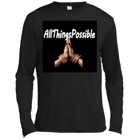 "Long Sleeve Moisture Absorbing Shirt AFFIRMATION ""ALLTHINGSPOSSIBLE"" - Well Being Addict.Com"