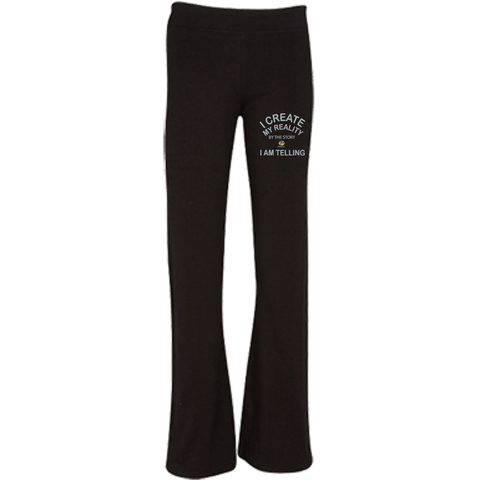 "Soffe® Junior Fit Customized Yoga Pant-Spiritual Inspirational Affirmation ""I Create my Reality. . ."" - Well Being Addict.Com"