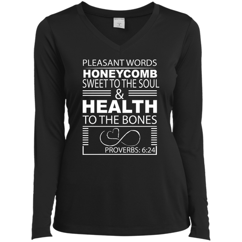 "Customized Biblical Inspirational Affirmations Ladies Long Sleeve Vneck Tee- ""Honeycomb. . ."""