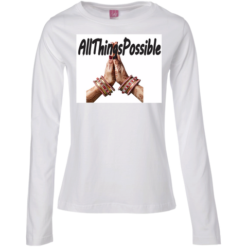 "Ladies Long Sleeve Cotton TShirt ""AllThingsPossible"" - Well Being Addict.Com"