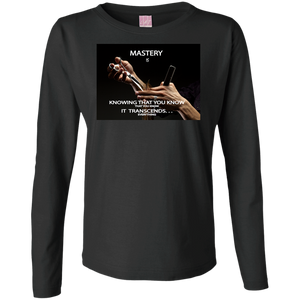 "Customized Inspirational Affirmations Cosmetologist Ladies Long Sleeve - ""Mastery is. . . ."" - Well Being Addict.Com"