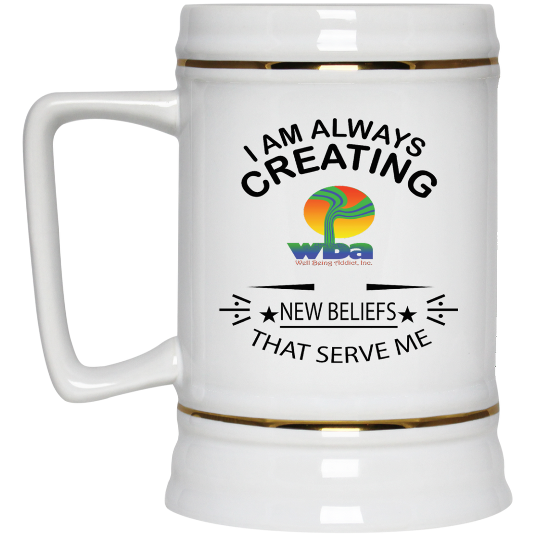 Customized Inspirational Affirmation Beer Stein - 22 oz - Well Being Addict.Com