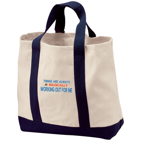 "2-Tone Shopping Tote Inspirational  Affirmation ""Things Are .  .."""