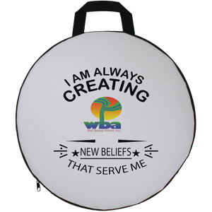"ROUND SEAT CUSHION SPIRITUAL INSPIRATIONAL AFFIRMATION, WELL BEING, ""ALWAYS CREATING. . ."" - Well Being Addict.Com"
