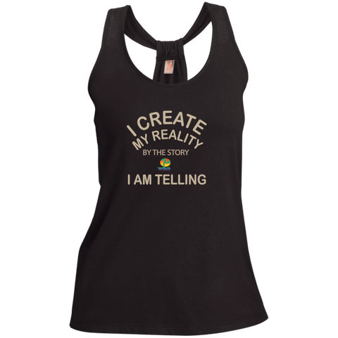 "Ladies Shimmer Loop Back Tank- Positive, Inspirational Affirmation ""I create my Reality. . "" - Well Being Addict.Com"