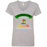 2.aiBANNER REVISED.aiWHITE  Ladies' V-Neck Tee - Well Being Addict.Com