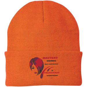 "One Size Fits Most Knit Cap-Spiritual Inspirational Affirmation – Cosmetologist ""Mastery Exudes . . . "" - Well Being Addict.Com"