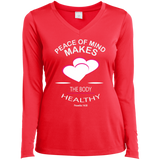 "Customized Biblical Inspirational Affirmations Ladies Long Sleeve Performance Vneck Tee ""PEACE OF MIND. . ."""
