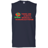 "Men's Cotton Sleeveless Tee Spiritual Inspirational Affirmation ""Things are Alway .. . "" - Well Being Addict.Com"