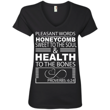 "Load image into Gallery viewer, Ladies' V-Neck Tee-Biblical Inspiration Quotes "" Honeycomb . ."" - Well Being Addict.Com"