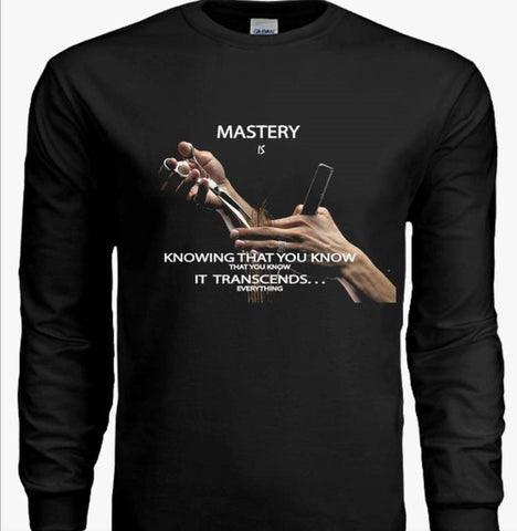 "Customized Spiritual Inspirational Affirmation Cosmetologist Men's Jersey Long Sleeve "" Mastery is 1. . """
