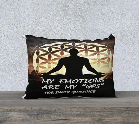 PILLOW DECOR, INSPIRATIONAL AFFIRMATIONS, WELL BEING 'MY EMOTIONS ARE.  .""