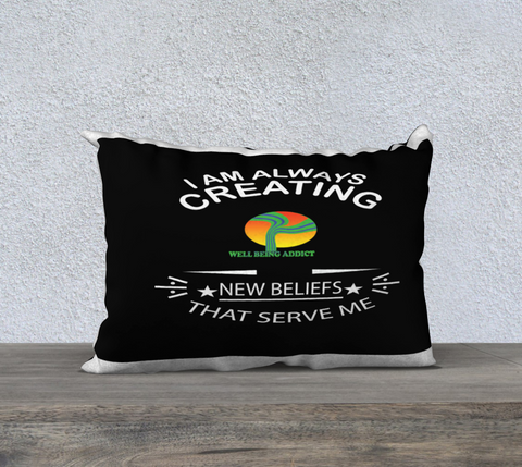 "PILLOW DECOR, SPIRITUAL INSPIRATIONAL AFFIRMATION, WELL BEING, ""ALWAYS CREATING"""