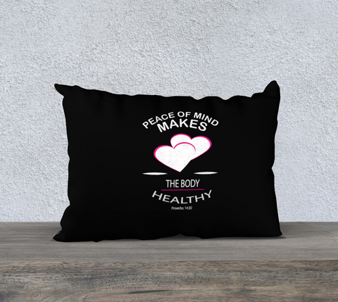 "PILLOW DECOR, RELIGIOUS INSPIRATIONAL AFFIRMATION,""PEACE OF MIND. . . ."""