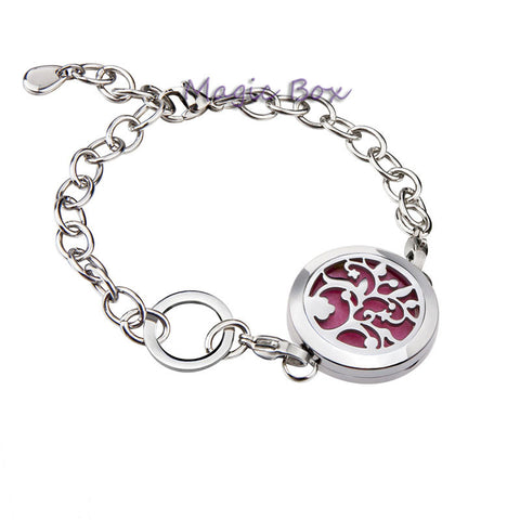 New arrival Round Silver tree of life 25mm Aromatherapy Essential Oils Diffuser Locket Bracelet Jewelry