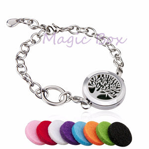 New arrival Round Silver tree of life 25mm Aromatherapy Essential Oils Diffuser Locket Bracelet Jewelry - Well Being Addict.Com