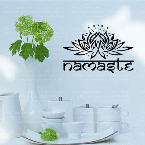 Namaste Words Wall Decal Vinyl Lotus Yoga sticker Buddha -Decor - Well Being Addict.Com