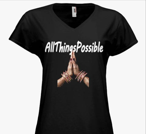 "Junior Vintage Wash V-neck Tee ""AllThingsPossible"" - Well Being Addict.Com"