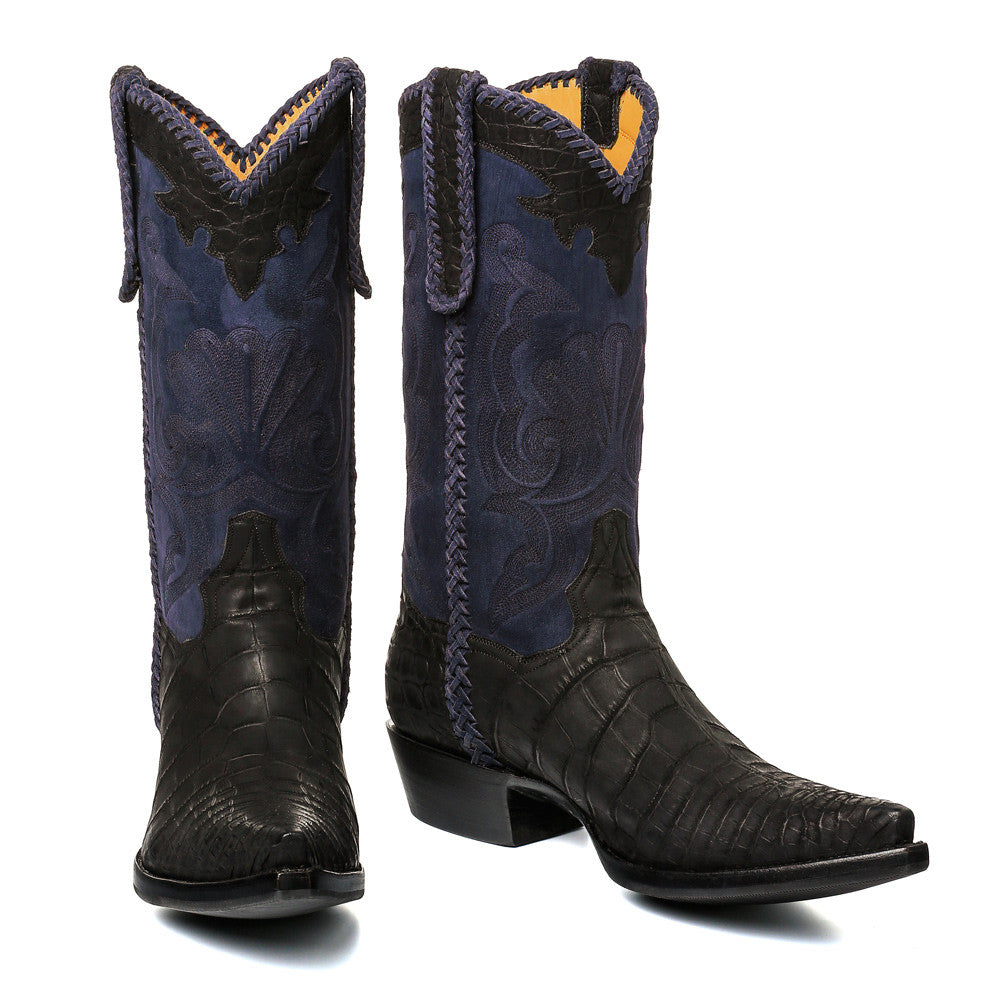 "Crocodile Sueded with Nubuck 12"" Black/Navy - Back at the Ranch"