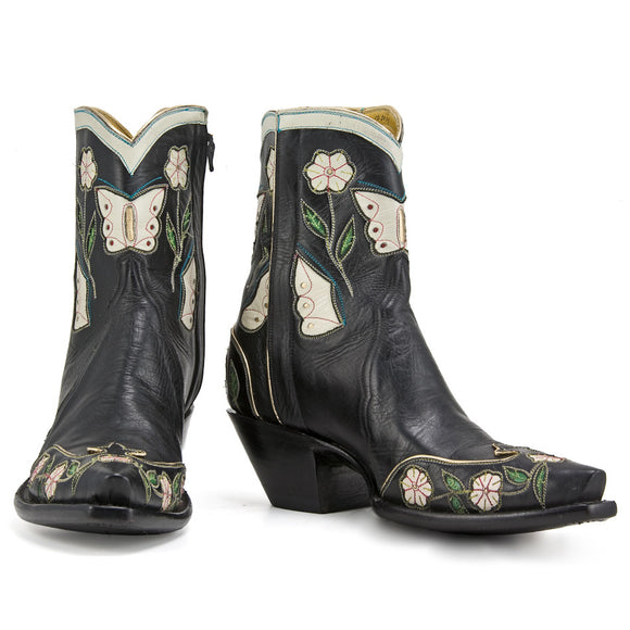 Black Butterfly Ankle Zipper - Back at the Ranch