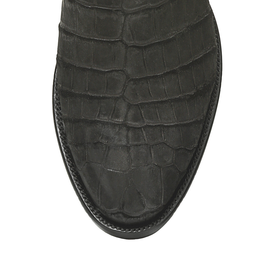"Crocodile Sueded 12"" Round Toe - Black - Back at the Ranch"