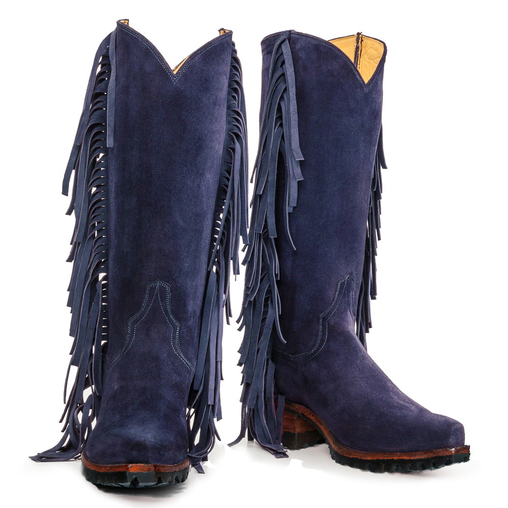 "Fringe 14"" with Vibram - Navy - Back at the Ranch"