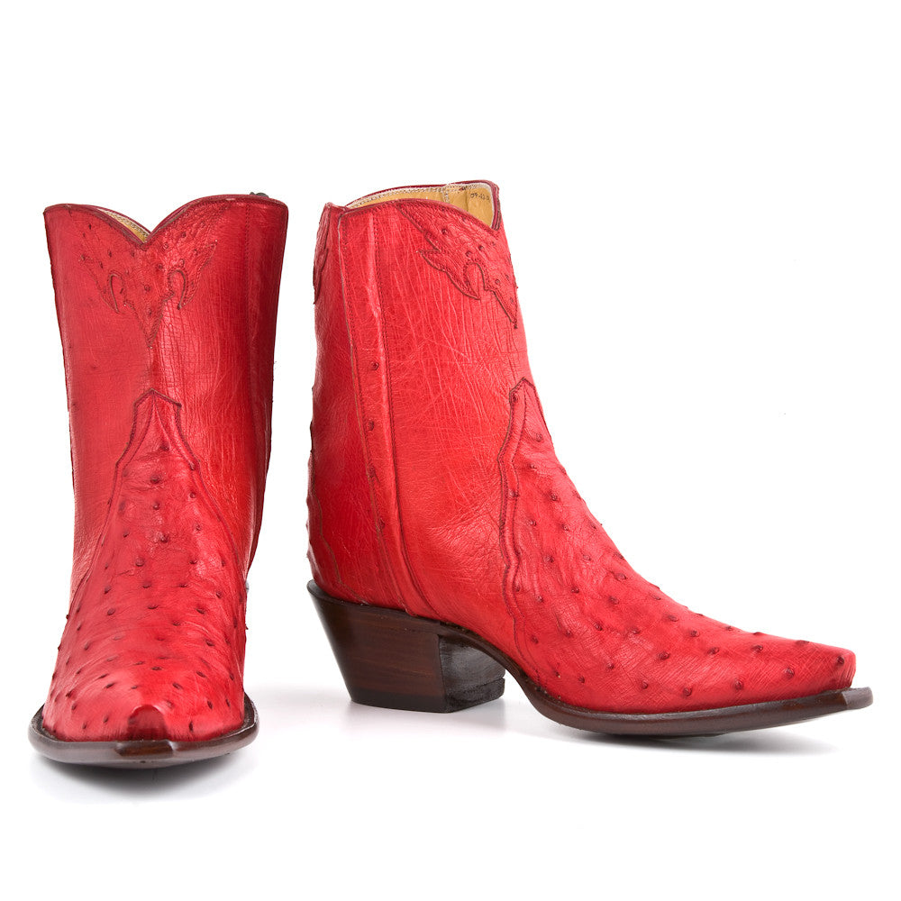Ostrich Ankle Zipper - Red - Back at the Ranch