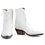 Ostrich Ankle Zipper - White - Back at the Ranch