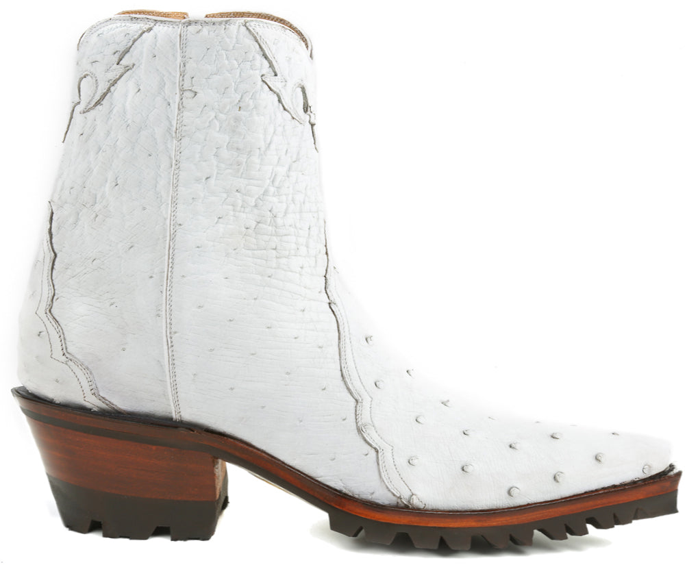 Ostrich Ankle Zipper with Vibram - White - Back at the Ranch