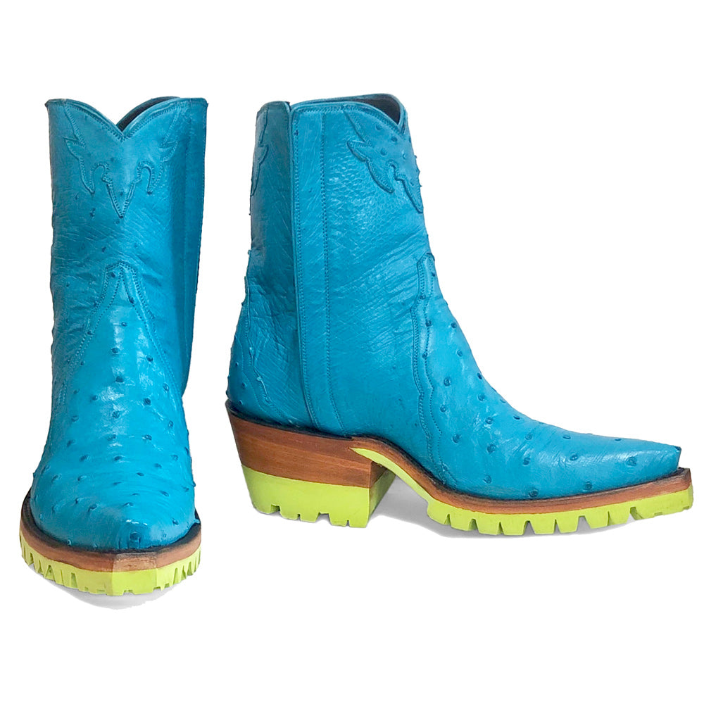 cheaper ab325 d3d64 Ostrich Ankle Zipper with Green Vibram - Blue – Back at the Ranch
