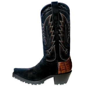"El Rancho 12"" Croc Heel with Vibram - Black/Brown - Back at the Ranch"