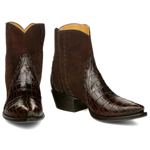 Crocodile with Nubuck Ankle Zipper - Brown - Back at the Ranch