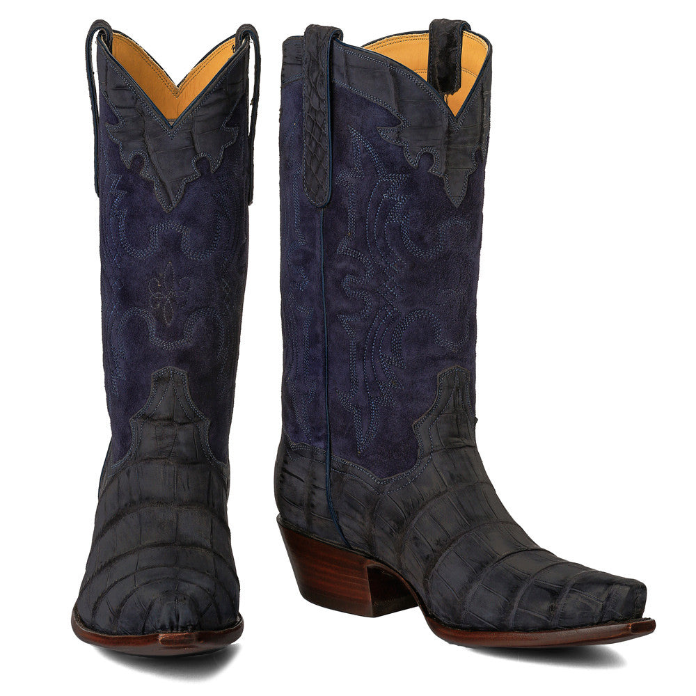 "Crocodile Sueded with Nubuck 12"" - Navy - Back at the Ranch"
