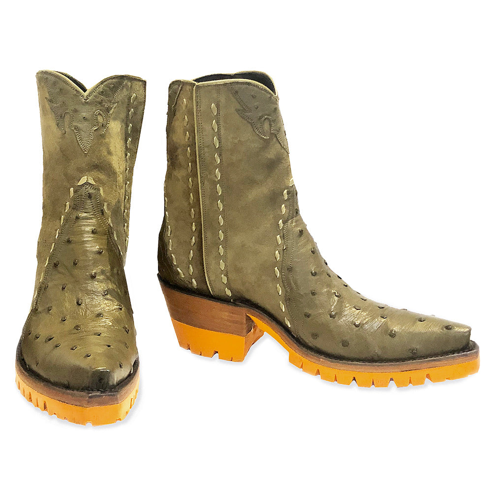 Ostrich with Pigsuede Ankle Zipper with Orange Vibram - Olive - Back at the Ranch