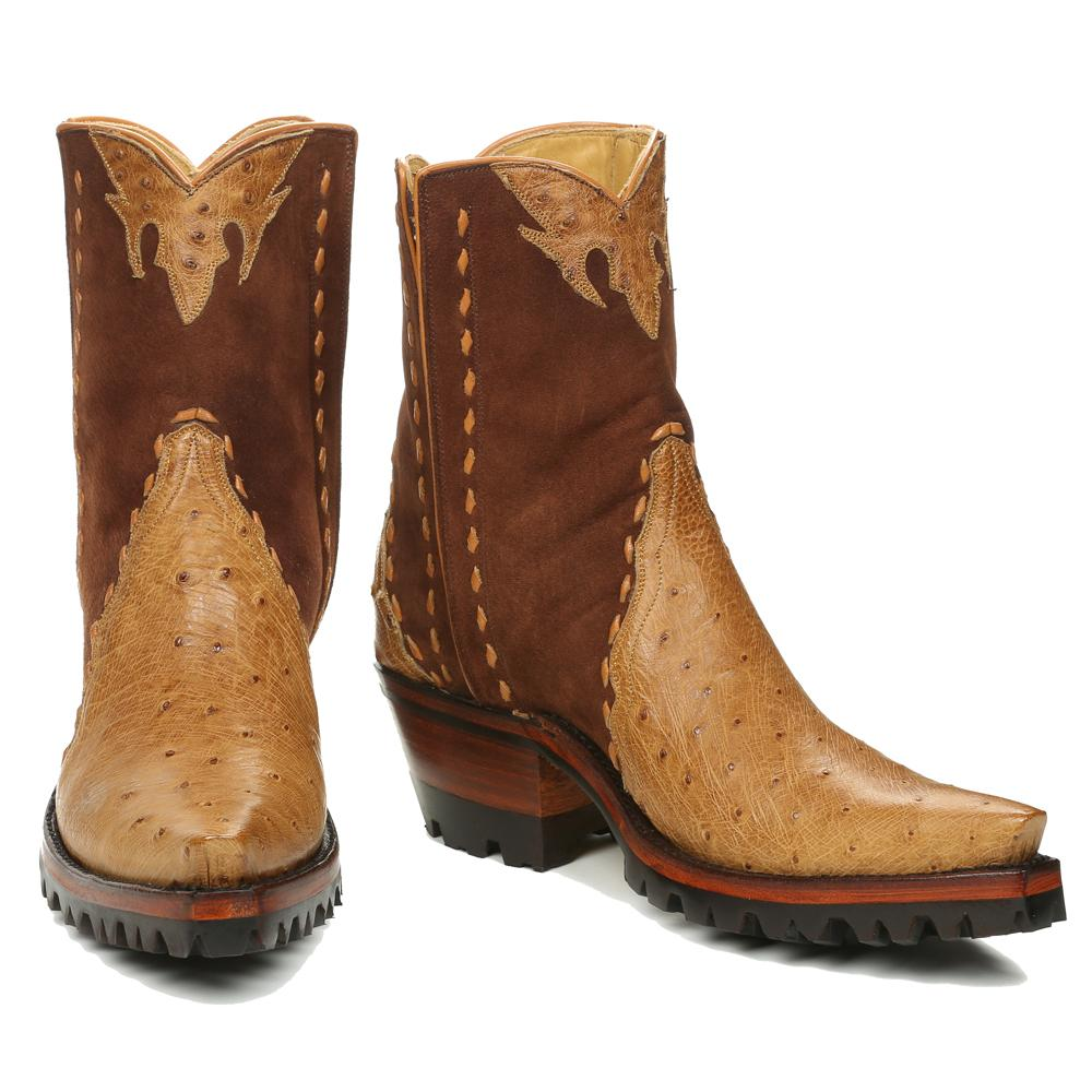 Ostrich with Nubuck Ankle Zipper with Vibram - Antique Saddle - Back at the Ranch