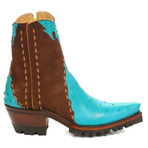 Ostrich with Nubuck Ankle Zipper with Vibram - Turquoise/Brown - Back at the Ranch