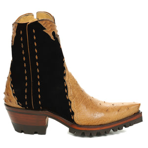 Ostrich with Nubuck Ankle Zipper with Vibram - Antique Saddle/Black - Back at the Ranch