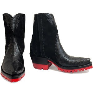 Ostrich with Nubuck Ankle Zipper with Red Vibram - Black - Back at the Ranch