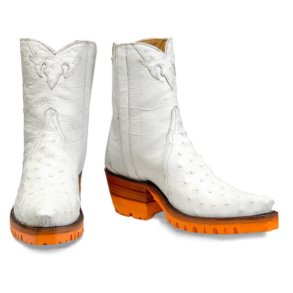 Ostrich Ankle Zipper with Orange Vibram - White - Back at the Ranch