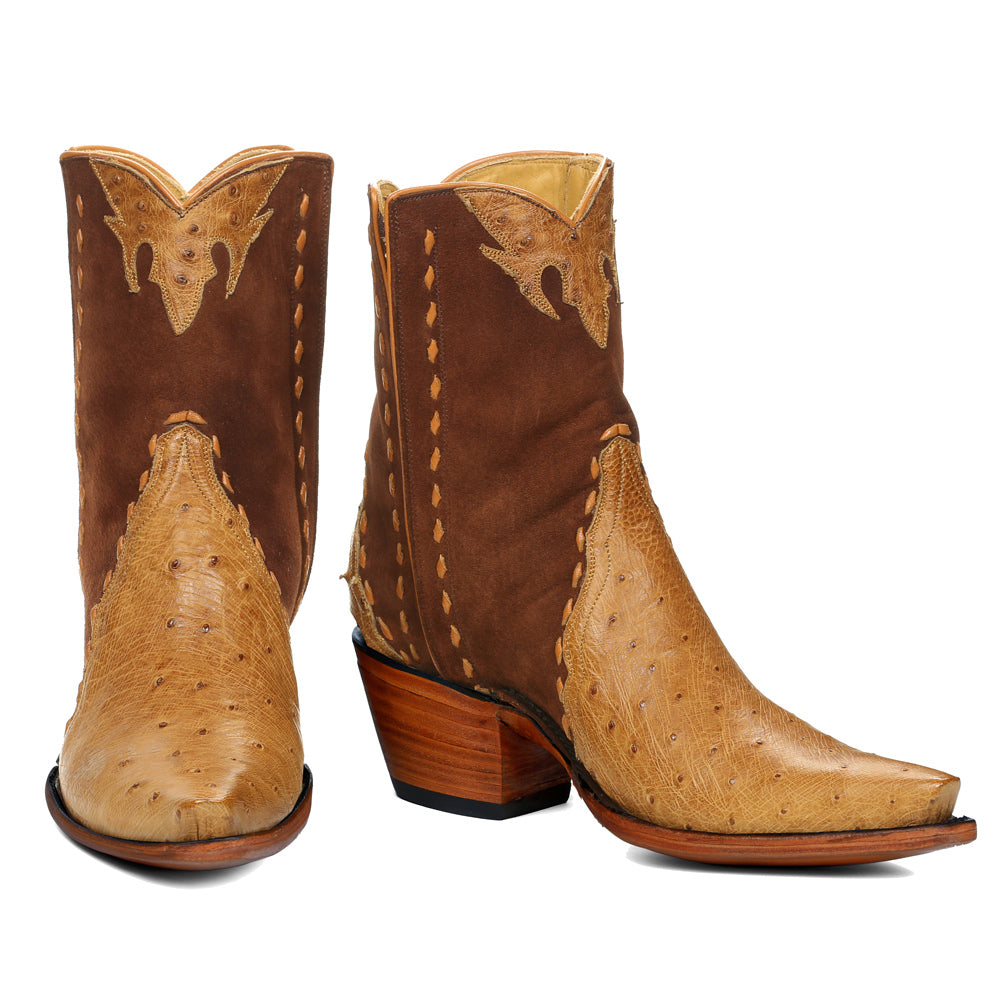 Ostrich with Nubuck Ankle Zipper - Antique Saddle - Back at the Ranch