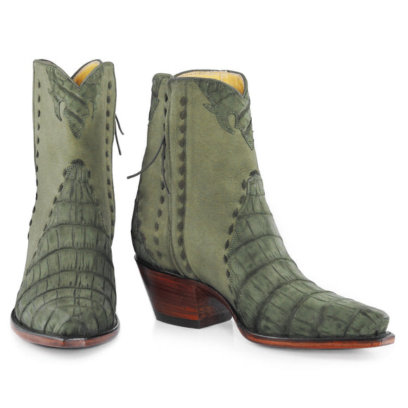 Crocodile Sueded Ankle Zipper - Olive - Back at the Ranch