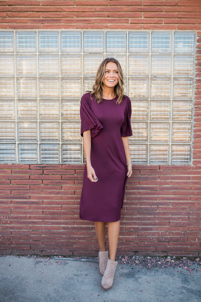 Back to Me Dress in Burgundy