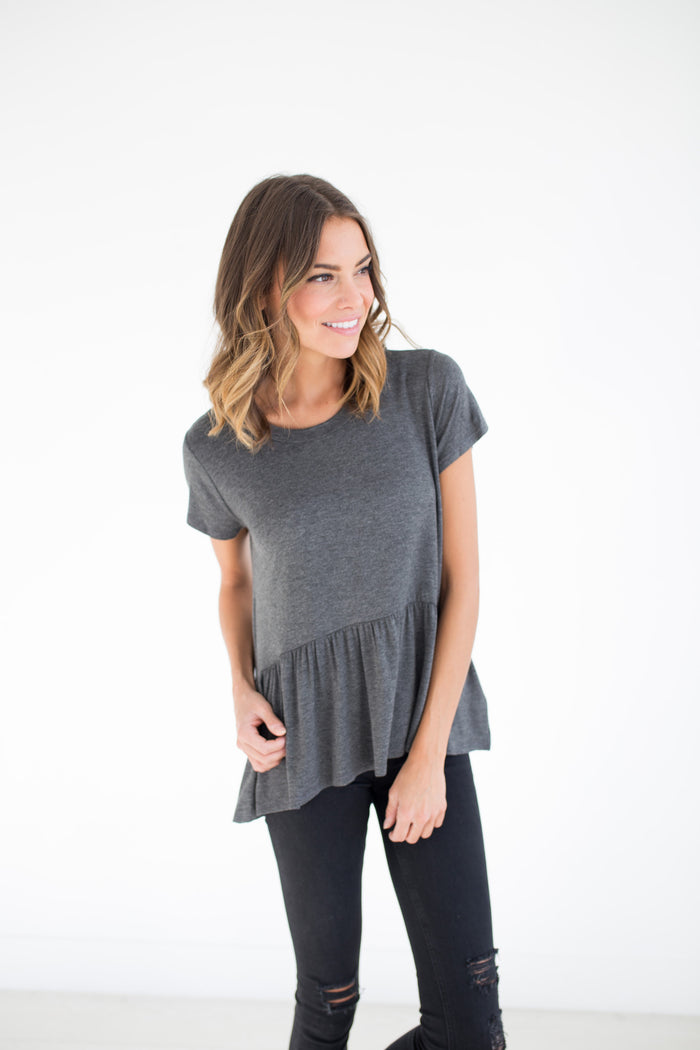 Cafe Peplum in Charcoal