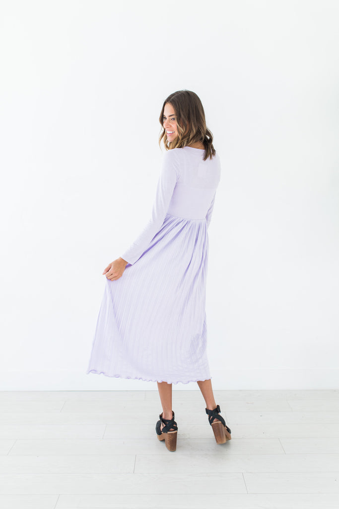 Lilac Pleated Dress